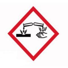 Etichete substante periculoase ISOLAB, simbol avertizare arsuri chimice, 26*37 mm, 250 buc