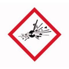 Etichete substante periculoase ISOLAB, simbol avertizare explozie, 26*37 mm, 250 buc